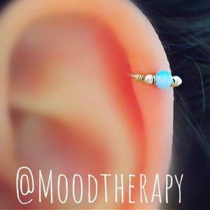 Blue fire opal beaded cartilage hoop earring